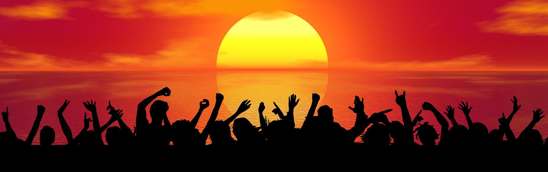 sonne, sonnenuntergang, party, strand