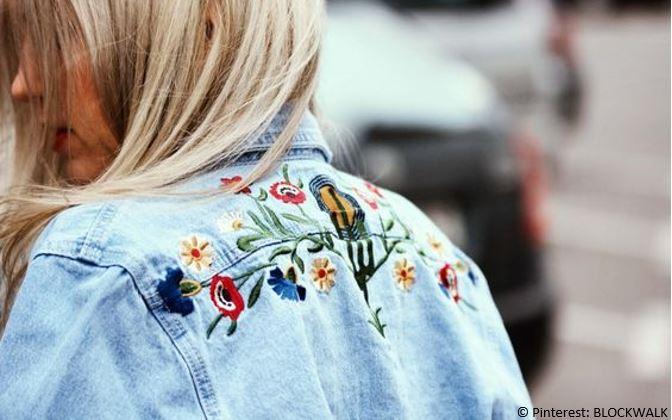Jeansjacke,Blumen, Stickerei