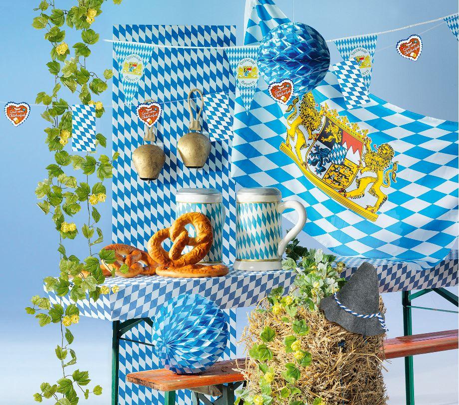 Dekoration, Weiß-blau,Bayern,Bier,Brezeln