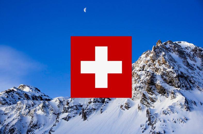 Flagge, Berge, Schnee, Mond